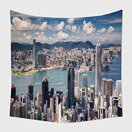 home decor tapestry wall hanging view point of hongkong city and kowloon city from the top - Kowloon Kitchen