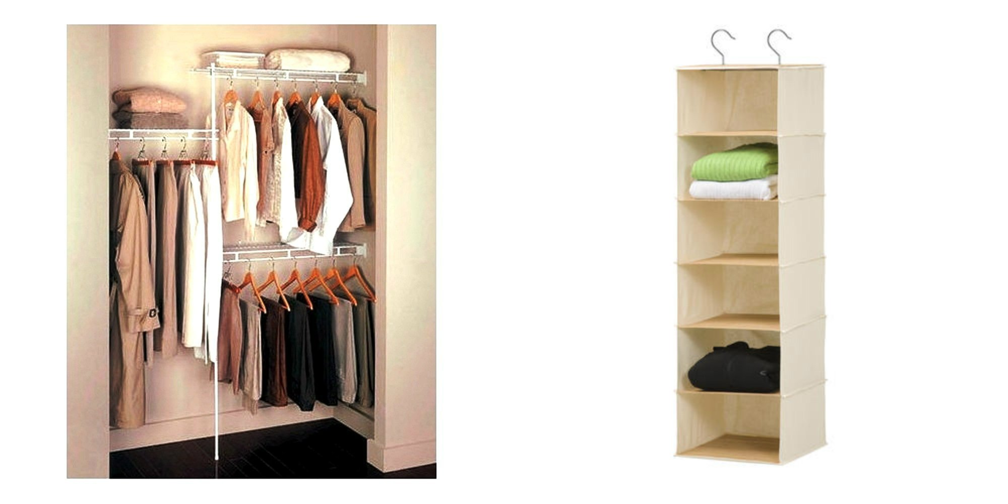 Rubbermaid Closet Organizer 3' - 5' - White + Honey-Can-Do 6 Hanging Shelfs in Natural Bamboo and Canvas