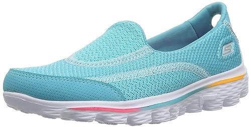Skechers GO Walk 2 - Caña baja de material sintético niña, color turquesa, talla 27