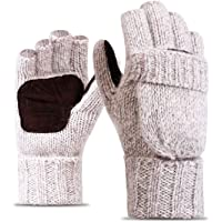 Elonglin Half-Finger Flip Cover Gloves Wool Blend Knitted Winter Warm Gloves Men Women Convertible Fingerless Mittens…