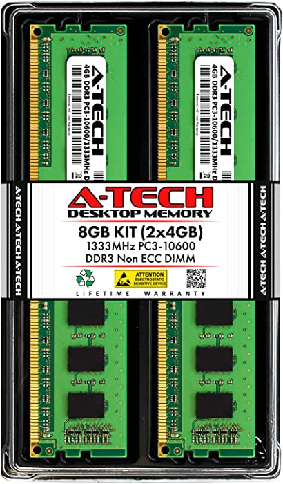 A-Tech 8GB (2x4GB) DDR3 1333MHz DIMM PC3-10600 UDIMM Non-ECC CL9 240-Pin Desktop Computer RAM Memory Upgrade Kit