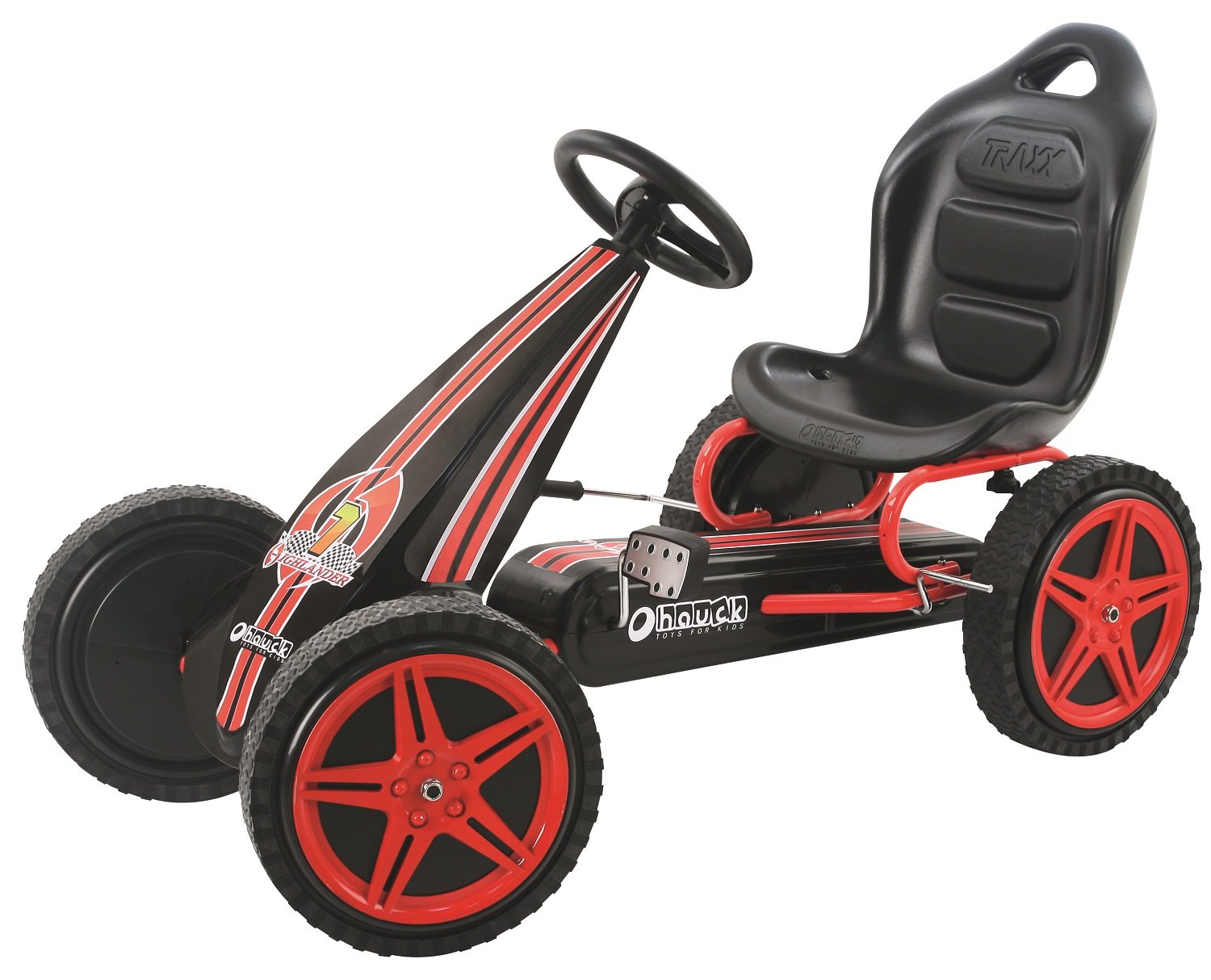 Hauck Highlander Pedal Go Kart Ride On, Red/Black by Hauck
