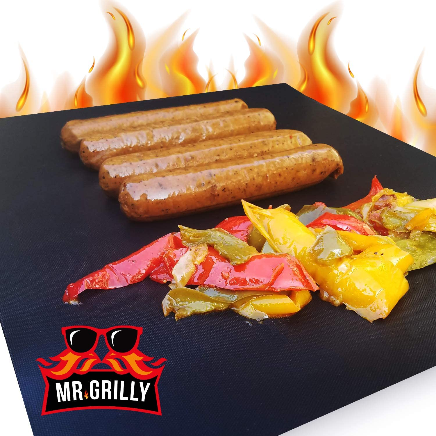 Mr. Grilly BBQ Grill Mat – 2Pcs Set Grill Mats – Fiberglass Cloth Teflon Grilling Mats for Gas Grill – 13 x 15.75 Inch Non Stick Mats – Washable, Durable and Reusable Design – Food-Grade and Safe