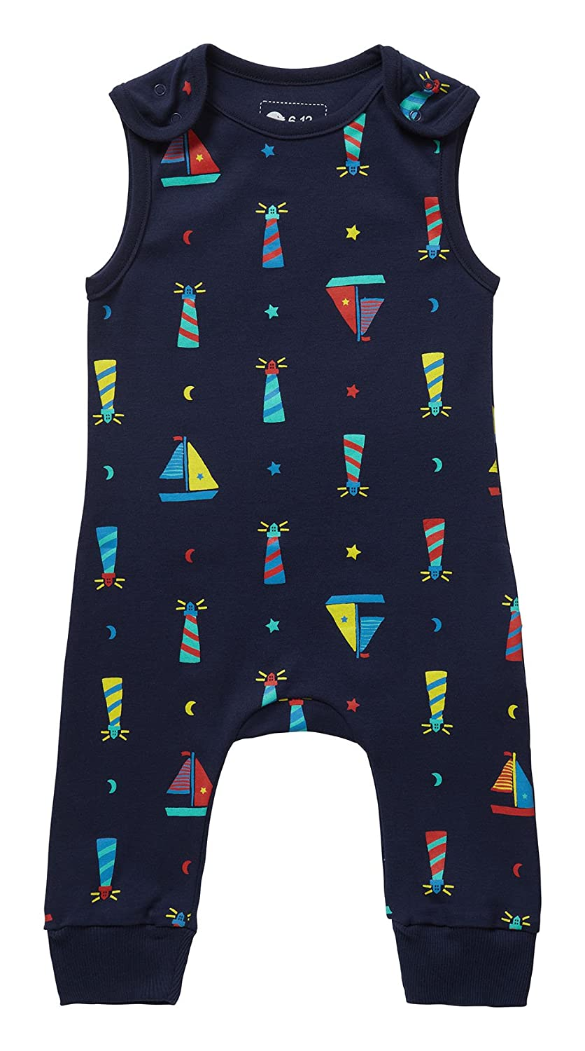 Piccalilly Organic Cotton Navy Blue Boys Lighthouse Print Dungarees OC-1033A