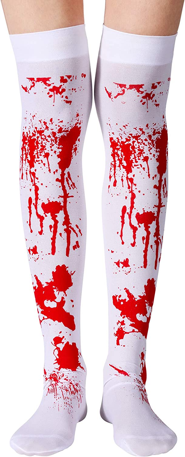 Halloween Bloody Stockings High Socks and Gloves for Halloween Cosplay Costume