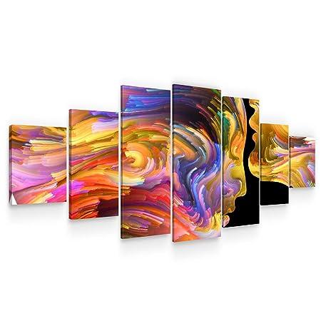 Startonight Grande Quadro su Tela - Amanti in Forme Colorate - Grandi  Quadri Moderni Astratti - Stampe Soggiorno XXL di 7 Parti 100 x 240 cm