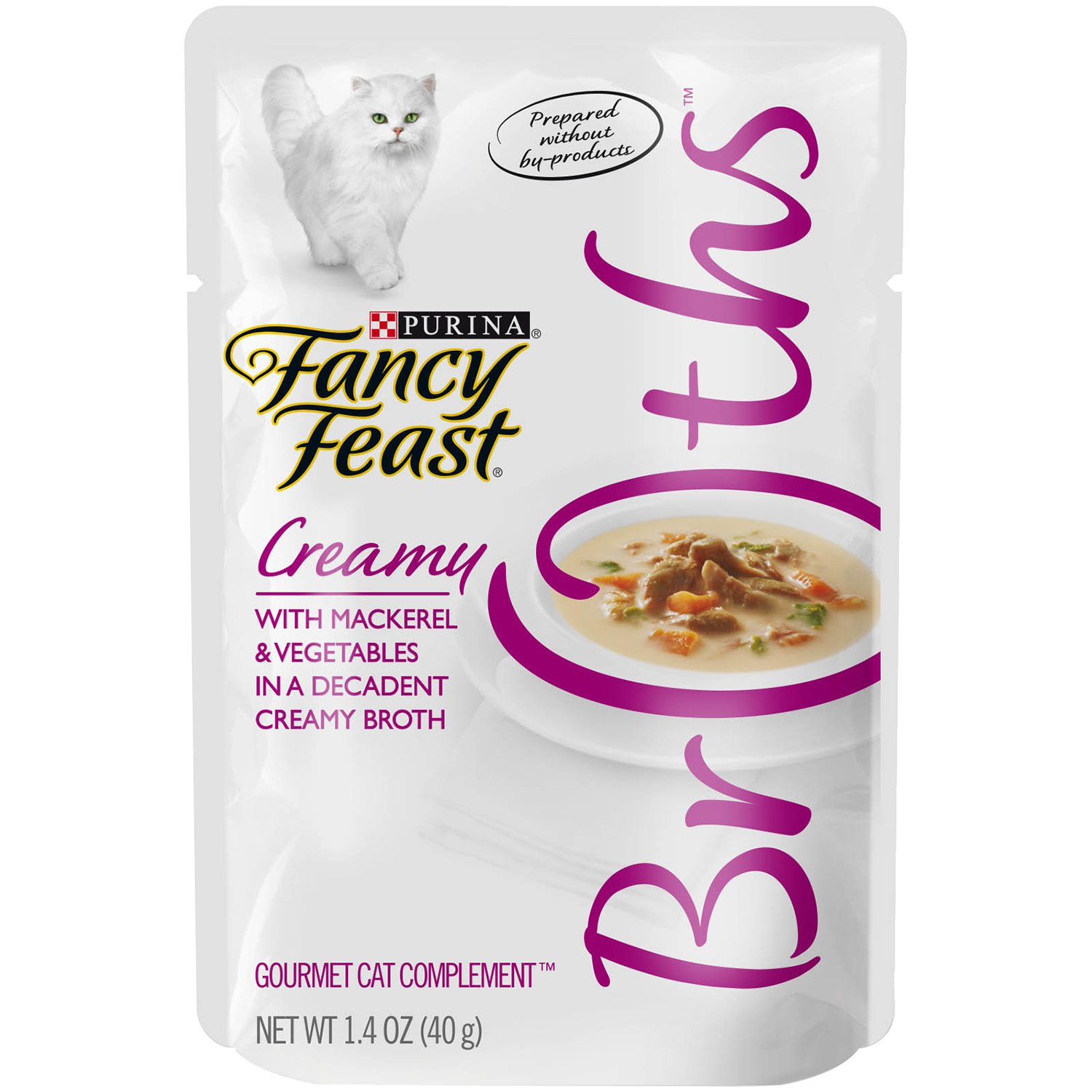 Purina Fancy Feast Broths For Cats, Creamy, With Mackerel And Vegetables, 1.4-Ounce Pouch, Pack Of 32 by Purina Fancy Feast
