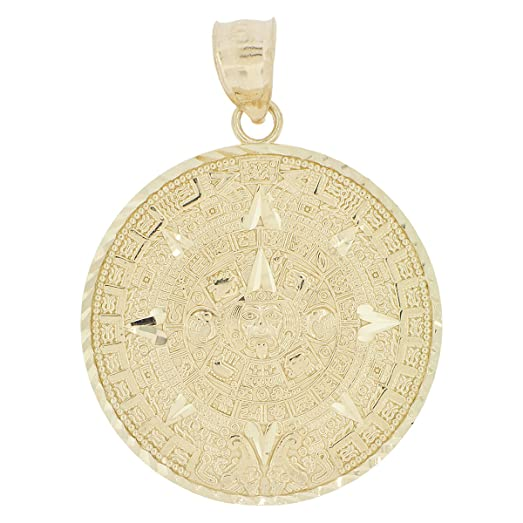 Amazon 14k yellow gold aztec calendar medallion pendant charm 14k yellow gold aztec calendar medallion pendant charm round sparkly cuts 30mm aloadofball Image collections