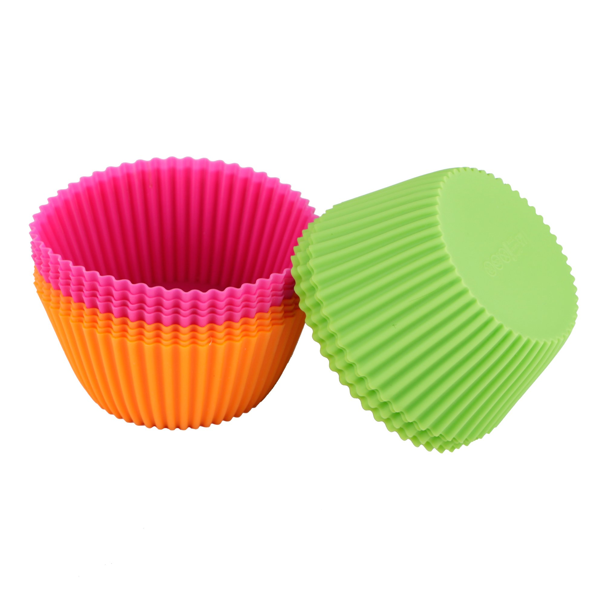 Webake 12-Pack 4.3-inch Non-stick Jumbo Silicone Cupcake Liners, Baking Cups, Muffin Liners (Round)