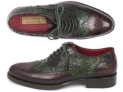 90e0ef29bda7e Amazon.com | Paul Parkman Goodyear Welted Green Genuine Python ...
