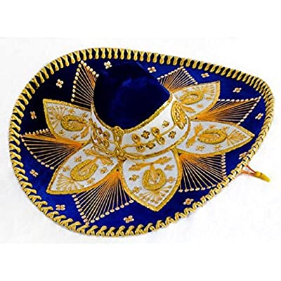 Royal Blue and Gold Mariachi Sombrero: Clothing