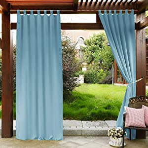PONY DANCE Outdoor Curtain Gazebo - 108 in Long Thermal Insulated Extra Long Tab Top Outdoor Curtains & Draperies for Porch/Patio/Garden, 52 W x 108 L, Light Blue, 1 PC