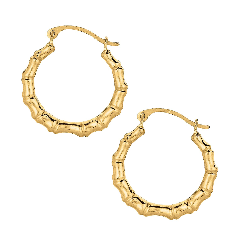 d98e7b9a5927c JewelStop 10k Real Yellow Gold Bamboo Hoop Earrings