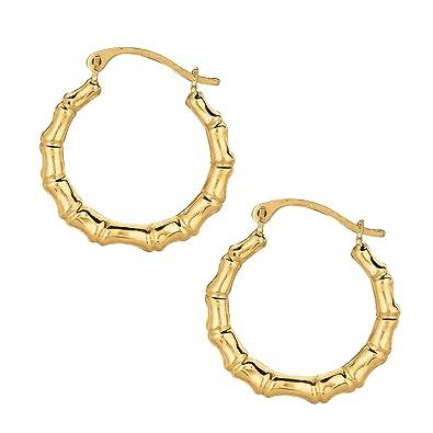 Amazon Com Jewelstop 10k Real Yellow Gold Bamboo Hoop Earrings Jewelry
