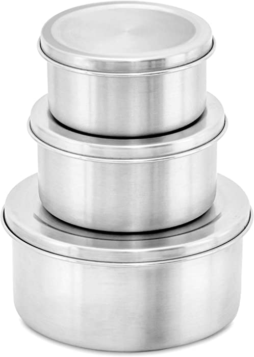 WEESPROUT 18/8 Stainless Steel Food Storage Containers with Lids | Set of 3 Metal Food Storage Containers (150 ml, 200 ml, 400 ml) | Durable | Germ-Resistant | Store Snacks, Lunches, Leftovers