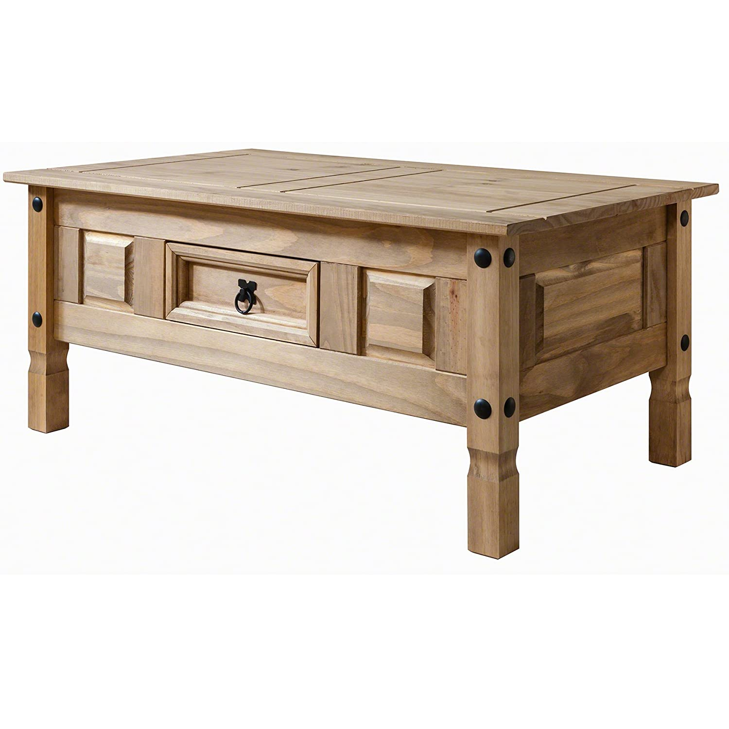 Two block storage coffee table stone two block storage coffee table - Corona Mexican Pine Coffee Table Rustic Design With Drawer
