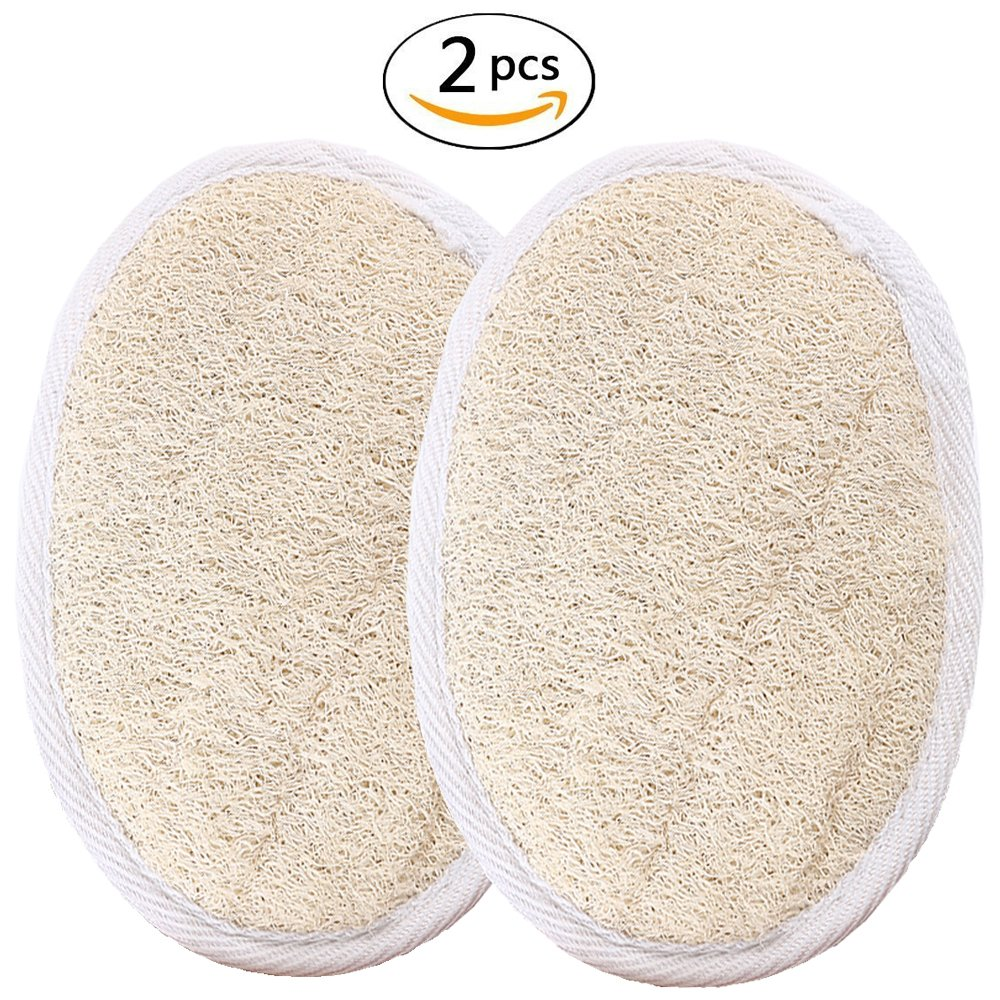 GDGY Exfoliating Loofah Pads-2 Pack 100% Natural Luffa and Terry Cloth Materials Loofa Sponge Scrubber Brush Close Skin For Men and Women When Bath Spa and Shower