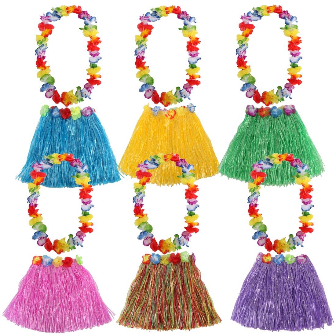 kilofly 6 Sets Girls Elastic Hawaiian Dancer Grass Hula Skirt Floral Lei Costume