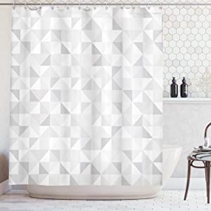 Ambesonne Grey Decor Collection, Faded Cubes Geometric Mosaic Squares and Triangles Color Movement Gradient Print Urban Home, Polyester Fabric Bathroom Shower Curtain, 75