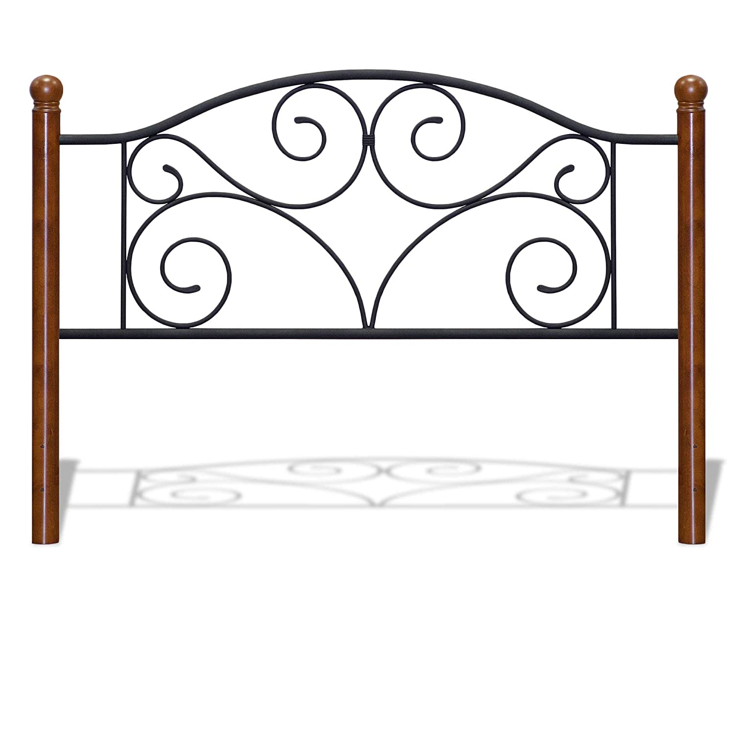 Queen Fashion Bed Group B92273 Doral Headboard with Dark Walnut Wood Posts and Metal Grill, Matte Black, Twin