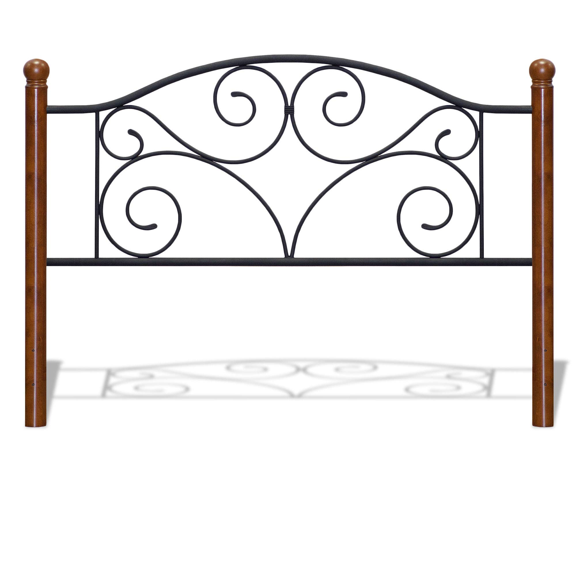Fashion Bed Group Doral Headboard with Dark Walnut Wood Posts and Metal Grill, King, Matte Black Finish by Fashion Bed Group