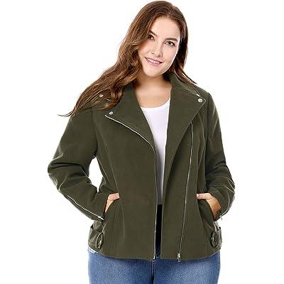 Agnes Orinda Women's Plus Size Convertible Collar Inclined Zip Closure Moto Jacket Green 1X at Amazon Women's Clothing store