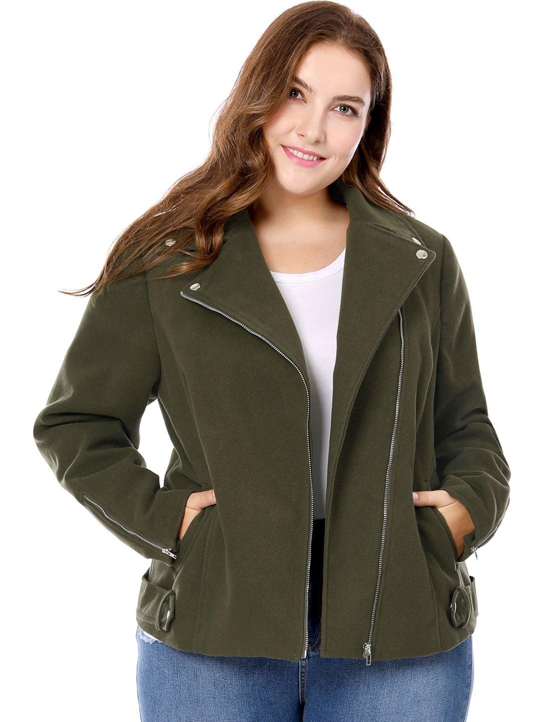Agnes Orinda Women's Plus Size Convertible Collar Inclined Zip Closure Moto Jacket Green 1X