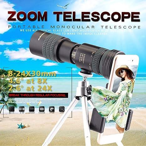 HAO Telescopio monocular de Caza 8-24X30 con Clip de teléfono ...