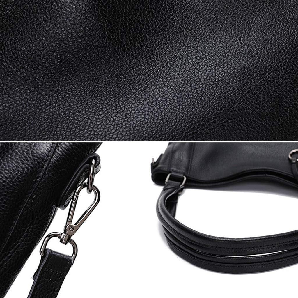 USGDTTWV Womens Leather Shoulder Handbags,Crossbody with Adjustable Shoulder Strap Color : Black, Size : 34cm