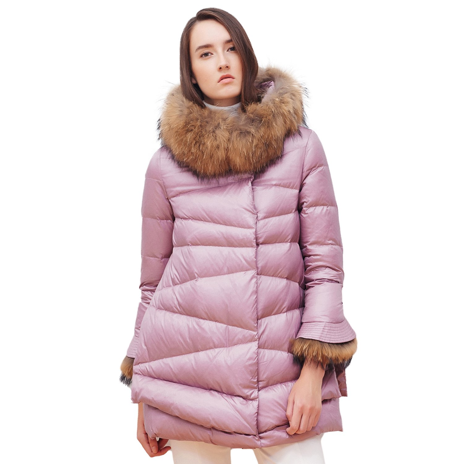 BOSIDENG Women's Winter Thick Down Coat Real Fur Hooded Detachable Fur Cuff Cloak Style Down Jacket Mid-Long Loose Hem Outerwear (175/96A 6045)