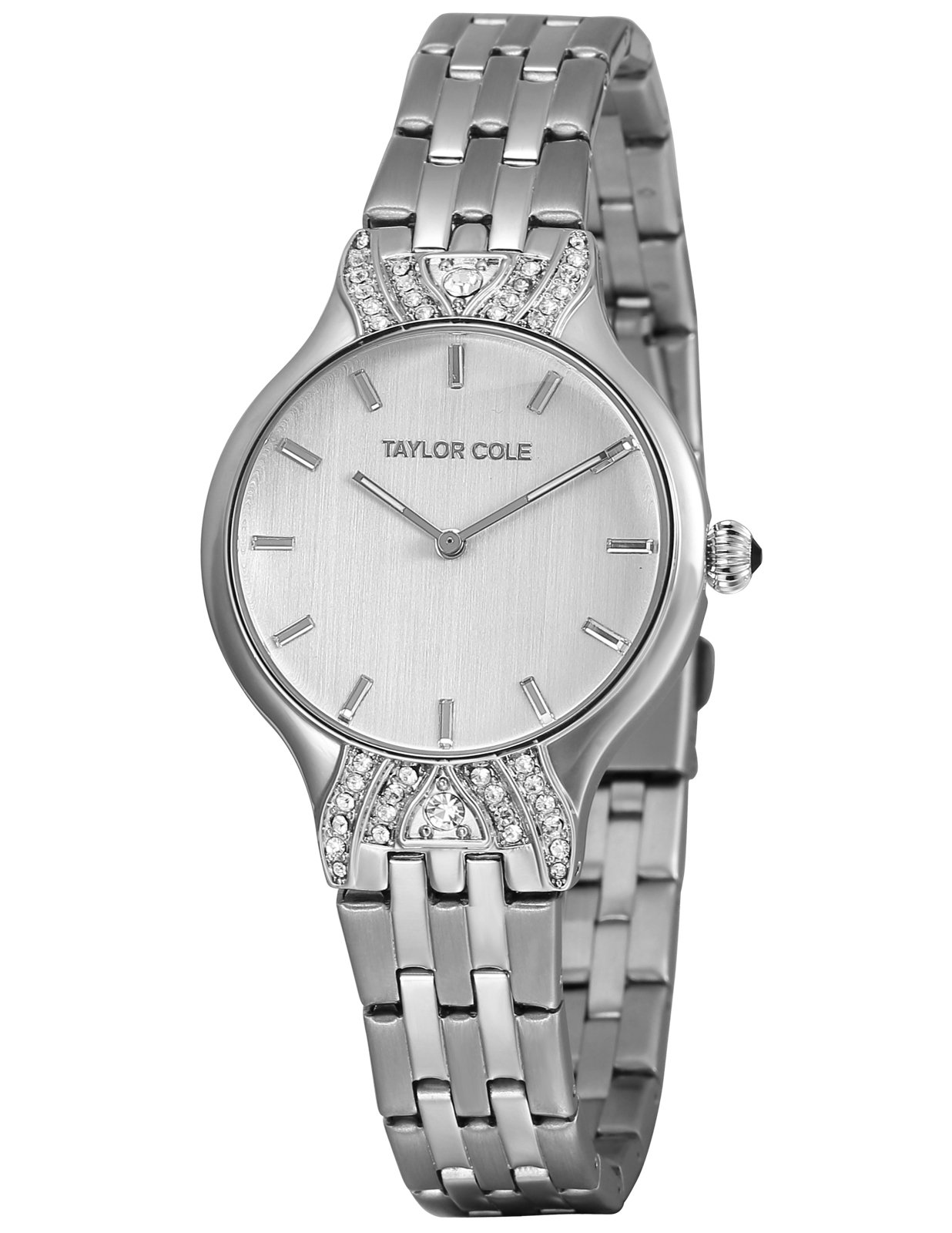 TAYLOR COLE Women Bling White Dial Watch, Echo Lady Girl Crystal Analog Quartz Silver Bracelet Band Stainless Steel Wrist Watch, Wedding Holiday Birthday Groom