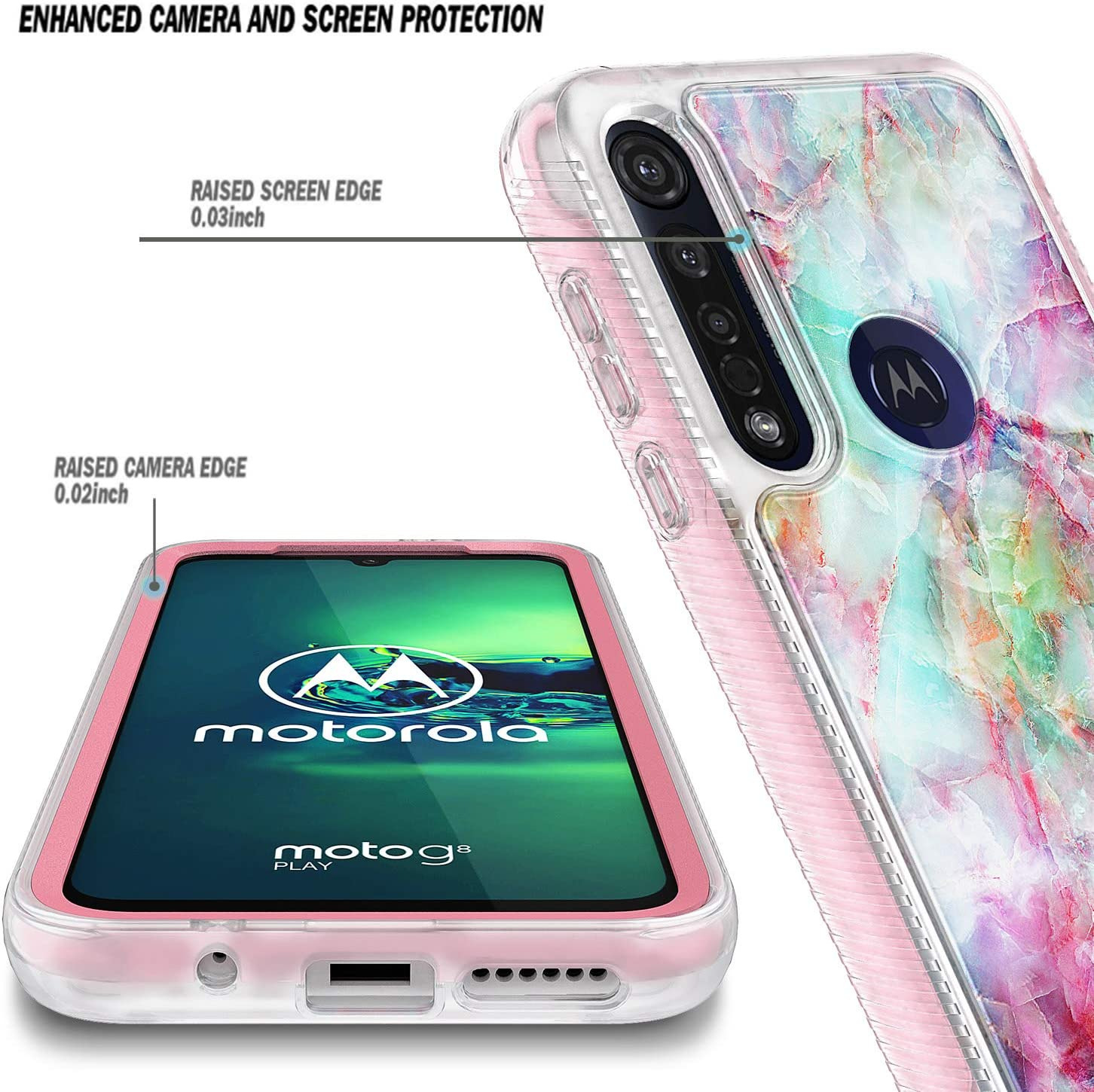 2019 Release Ultra Thin Shockproof Impact Extreme Durable Case -Fantasy Full-Body Protective Rugged Bumper with Built-in Screen Protector Motorola Moto One Macro E-Began Case for Moto G8 Play