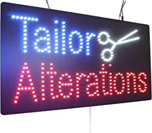 Tailor Alterations Sign, TOPKING Signage, LED Neon Open, Store, Window, Shop, Business, Display, Grand Opening Gift