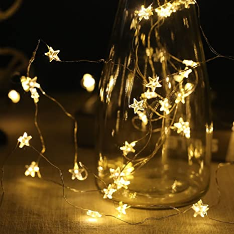 super popular cdde4 0a271 String Lights 40 Warm White LED Stars Fairy Lights 6M for Christmas  Halloween Party Home Bedroom Decoration