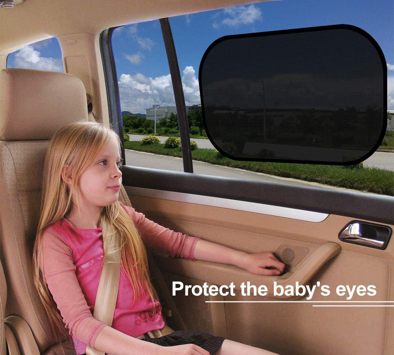 Set di 2 Fesoar Tendine Parasole Auto Per Bambini Con Protezione UV Certificata Rete Autoadesiva Per Protezione Solare Per Auto , Visiere Parasole Per Auto.51cm x 31cm Nero