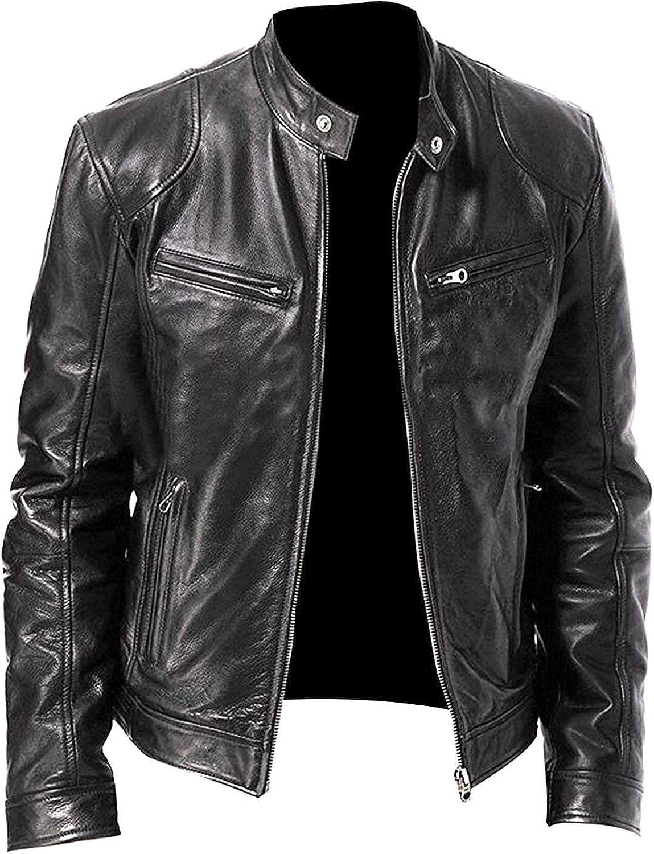 Biker Vintage Cafe Racer Black /& Brown Motorcycle Rider Retro Leather Jacket