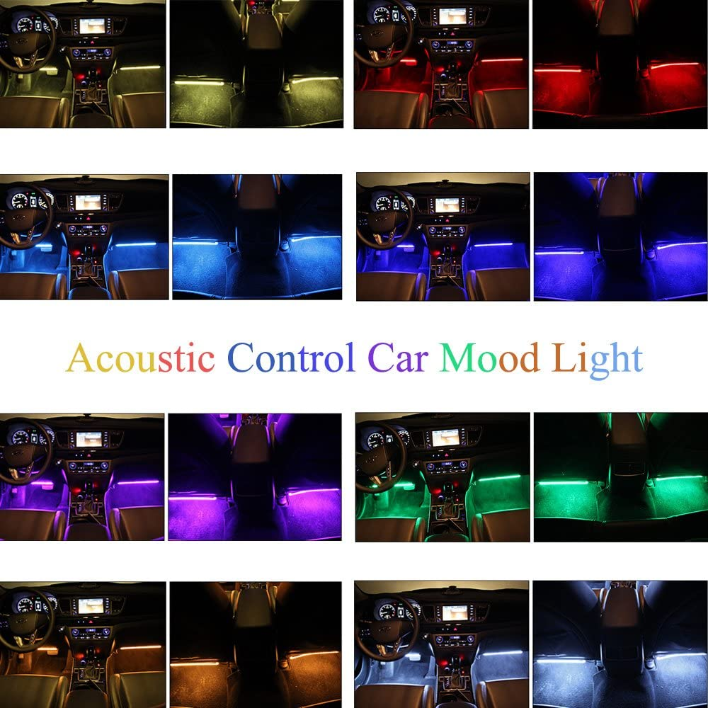 XISEDO Car Interior Lights Footwell Mood Lights 4pcs Strip Lights 8 Colors Decoration Atmosphere Strip Lights with Sound Active Function and IR Remote Control