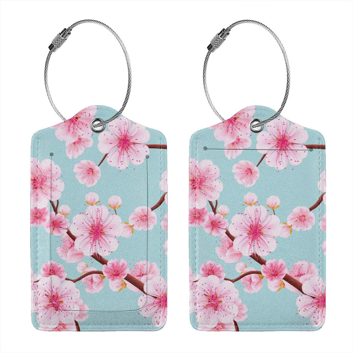 GoldK Pink Cherry Blossom Leather Luggage Tags Baggage Bag Instrument Tag Travel Labels Accessories with Privacy Cover