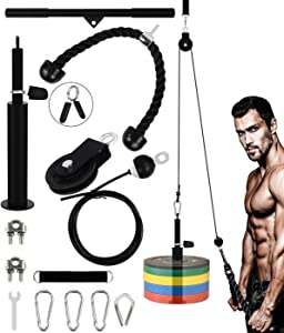 YaNovate Fitness LAT and Lift Pulley System with Loading PinTricepStrap Bar CableRope Machinefor Muscle Strength, Home Workout GymEquipment for Pull Downs, Biceps Curl, Forearm, Shoulder
