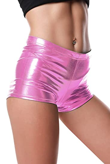 7adb9b3b BLACK JACKY Metallic Rave Booty Dance Shorts at Amazon Women's ...