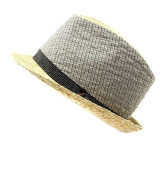 Grevi Men s Raffia Plaid Fabric Fedora Hat in Natural Brown Size ... 8b376ef91633
