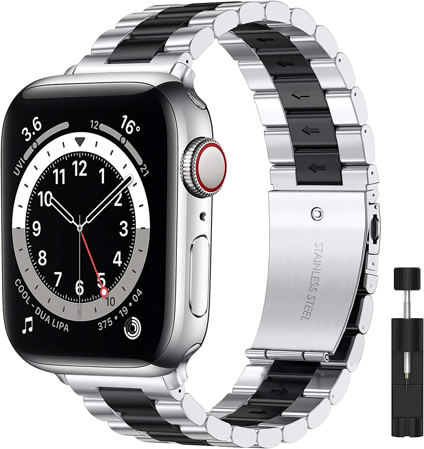 Liwin Metal Band Compatible with Apple Watch Series SE/6/5/4/3/2/1, Series 6 Band for Men Women, Replacement Steel Business Bracelet Wrist Strap Accessory for iWatch Band (42mm/44mm, Silver&Black)