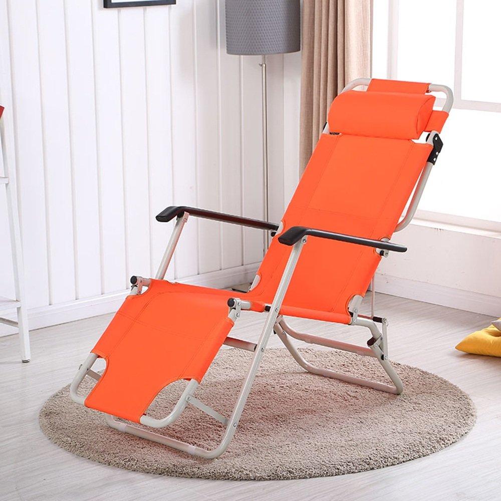 QFFL シンプルな多機能ポータブル椅子/オフィスシエスタ宇宙セービングリクライナー/通気性バルコニー屋外ポータブル背もたれ椅子 アウトドアスツール (色 : Orange) B07F81PZSV Orange Orange