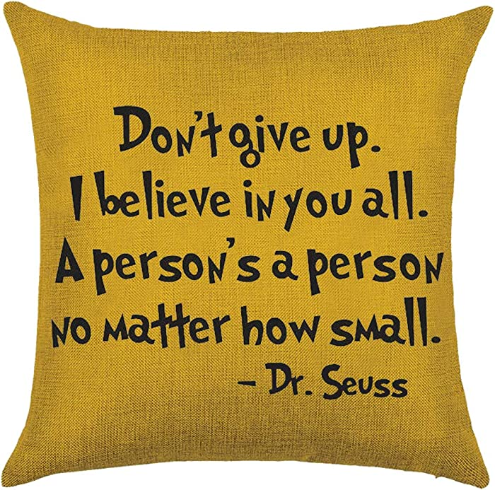 Bnitoam Colorful Bright Background Pattern Dont Give Up I Believe in Your All Dr. Seuss Cotton Linen Throw Pillow Covers Case Cushion Cover Sofa Decorative Square 20 x 20 inch