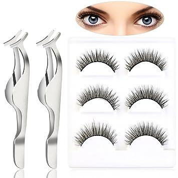 f89ef838c3c Pixnor 3 Pairs Black Long Makeup False Eyelashes and 2pcs False Eyelashes  Extension Applicator Remover Clip
