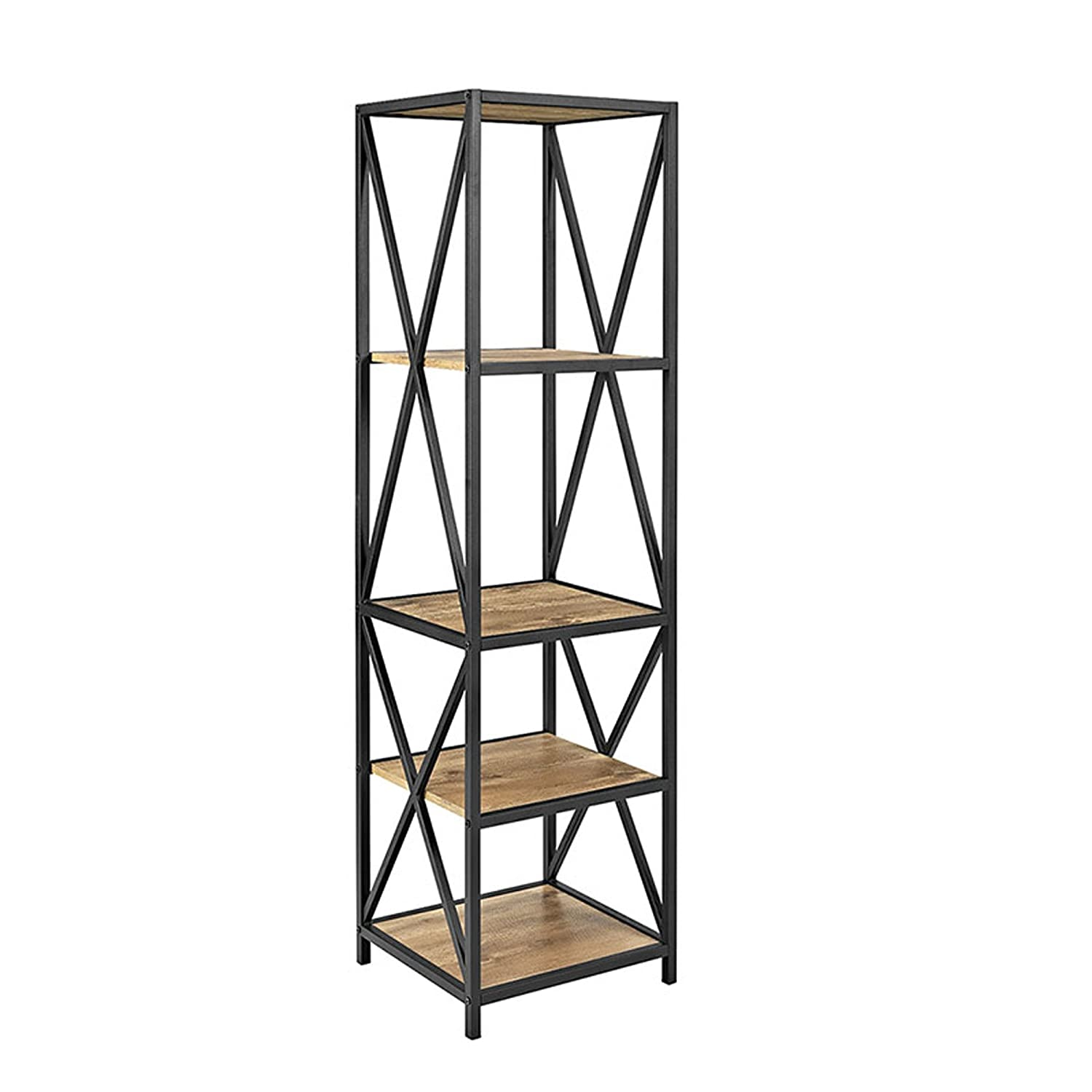WE Furniture Industrial Bookshelf, Powder-Coated Steel, Barnwood, One Size