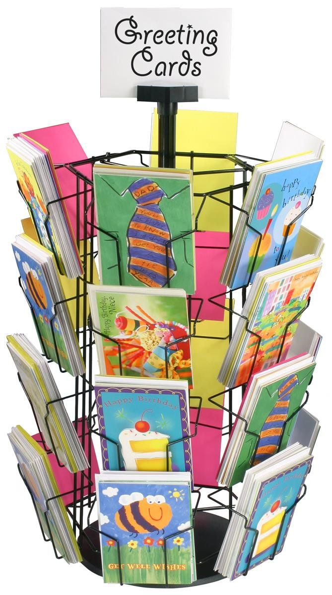 Greeting Card Racks with (24) 5 x 7 Pockets for Countertop Use, 29 inches Tall, 11-inch Diameter Plastic Base - Black Wire Holders