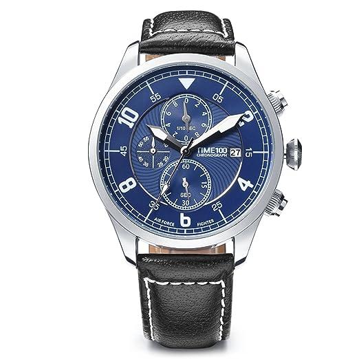 Time100 Reloj Pulsera de curazo de Piel para Hombres, Agujas Luminosas, esferas Azul, Correa de Color Negro, multifunciones: Amazon.es: Relojes