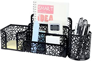 Crystallove Metal Mesh Office Desktop Supplies Organizer Set of 3pcs-Pencil Holder, Sticky Note Holder and Letter Tray (Black)