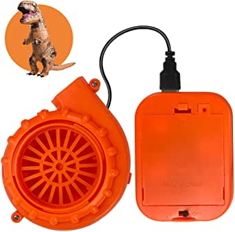 Mini Blower Fan for Dinosaur Costume or Doll Mascot Head or Other Inflatable Game Clothing Suits, Orange